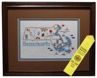Map of Massachusetts in cross stitch